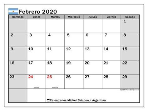 calendario febrero  argentina numeros pinterest