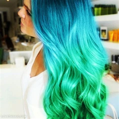 Ombre Hair Blue Green Colorful Hair Hair Dye Hair Ideas
