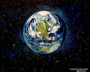 "Planet Earth original, acrylic painting on 16"" x20 ..."