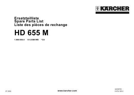 parts manual karcher hd 655 m high pressure washer