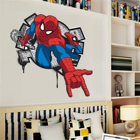 hot handsome spiderman coming  kids rooms decal wall