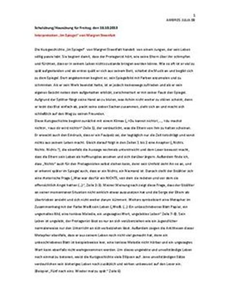 interpretation und analyse von im spiegel schulhilfede