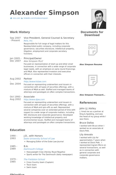 General Counsel Resume Templates by General Counsel Resume Sles Visualcv Resume Sles