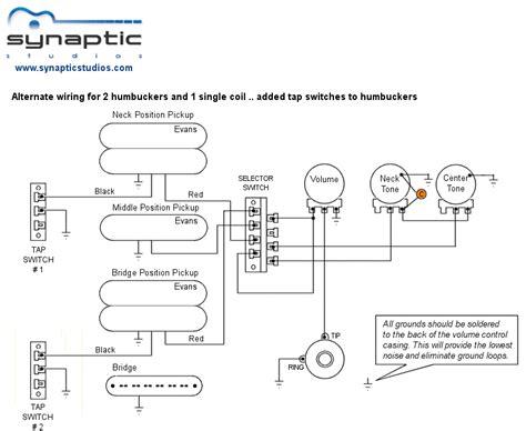 alternate 2 humbucker 1 single coil wiring diagram