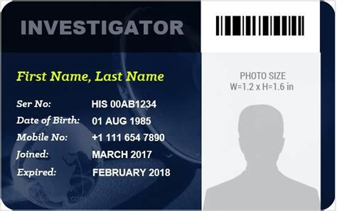 investigator id card templates    images