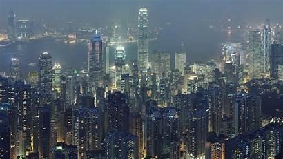 Hong Kong Knight Dark Night Skylines Cityscapes