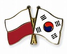 Crossed Flag Pins Poland-South-Korea Flags