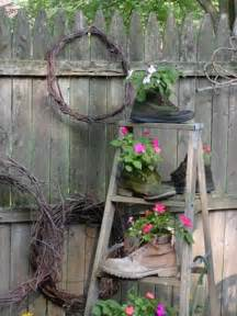 outdoor garden decorations made of wooden ladders
