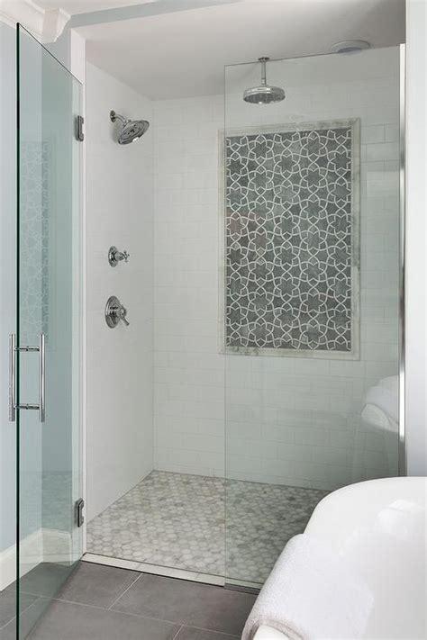 gray dolomite moroccan shower tiles transitional bathroom