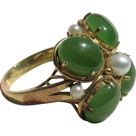 large vintage jade cocktail ring  pearl   yellow