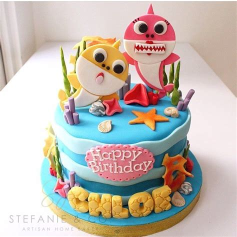 Great variety of cake flavors also available. pastel baby shark | Shark birthday cakes, Twin birthday ...