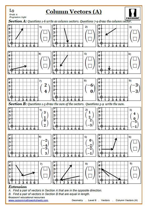 vectors ks3 and ks4 maths worksheets cazoom maths worksheets