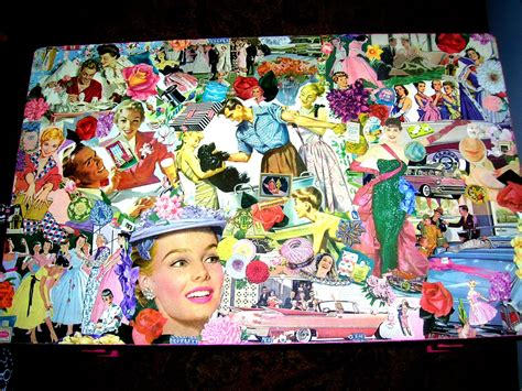 pink retro kitsch colorful decoupage collage table top