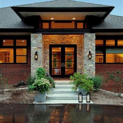 ranch home  hip roof  covered entrance design ideas