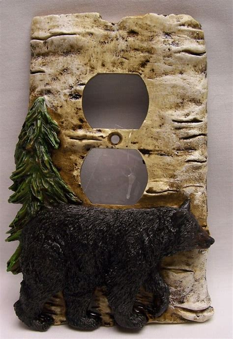 black bear birch wood  outlet plate cover rustic