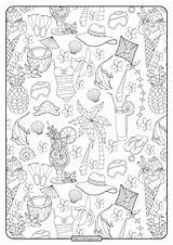Coloring Collage Printable Pdf Summer sketch template