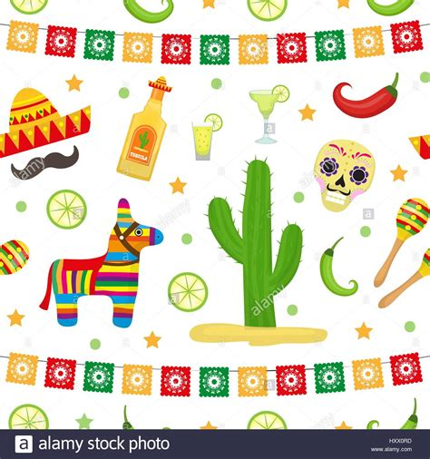 Cinco de Mayo seamless pattern. Mexican holiday endless ...