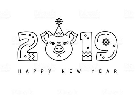 2019 Happy New Year Greeting Card Thin Line Art