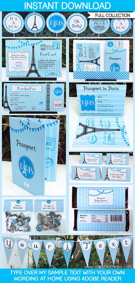 blue paris baby shower printables invitations decorations