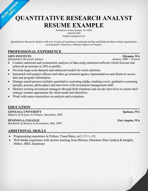 Research Analyst Description Resume by Quantitative Research Analyst Resume Sles Across All