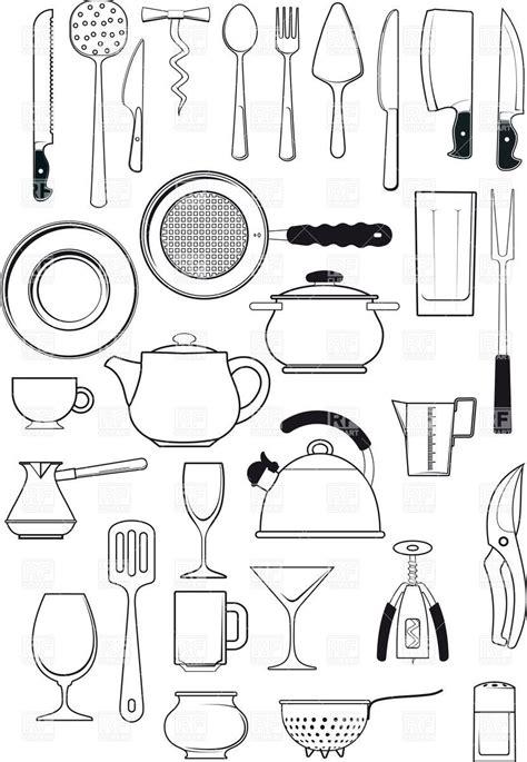 tableware kitchen utensils silhouettes vector image