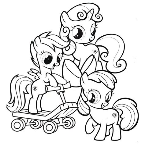 cutie mark crusaders   pony coloring page