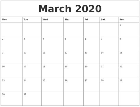 march blank printable calendars