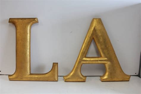 big wooden letters large antique gold leaf wood letters quot la quot for los angeles 17892