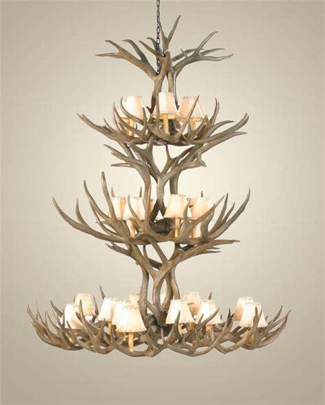 triple tier mule deer antler chandelier western passion