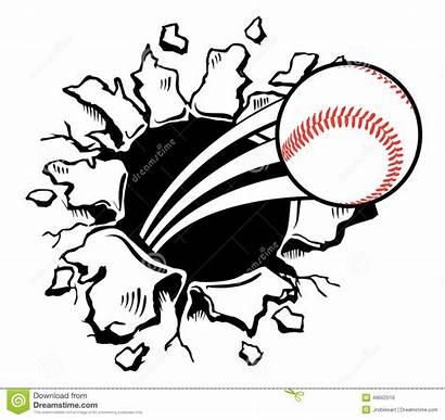 Baseball Busting Wall Vector Illustration Sports Through