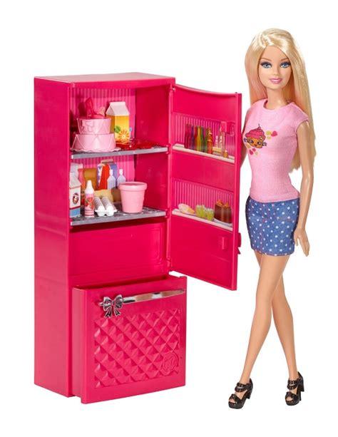 jeux de filles cuisine mobilier cuisine réfrigérateur et poupée mattel