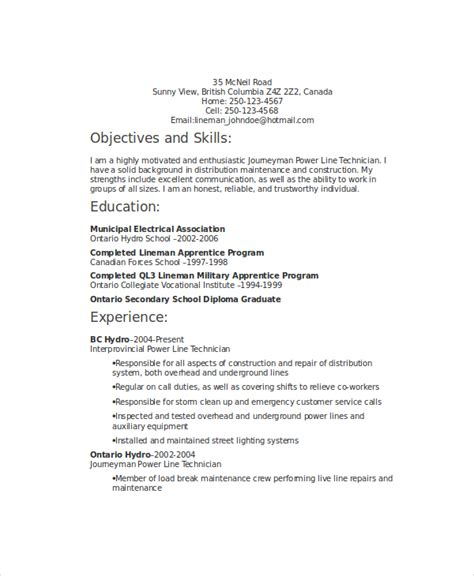 lineman resume template 6 free word documents