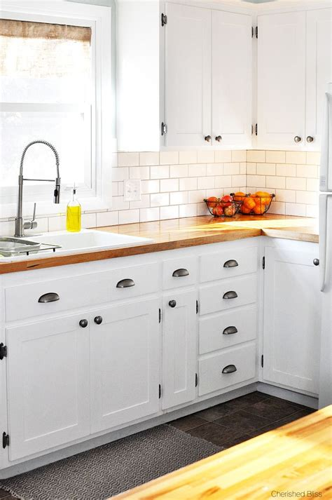 butcher block cabinet tops farmhouse cottage kitchen reveal shaker style pewter and kitchen hacks