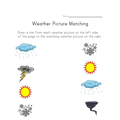 weather worksheet picture matching all kids network