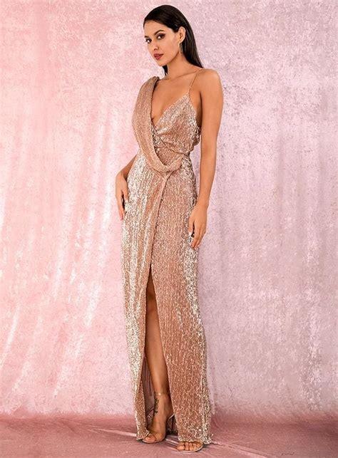 Rose Gold Deep V-Neck Sequins Prom Maxi Dress - Popviva # ...