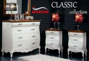 Mobili per camera da letto stile classico armadio, comò comodini e cassettiere MARION