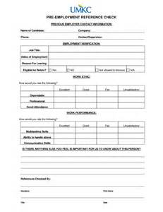 Employment Reference Check Form Template