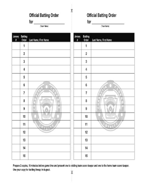 Softball Batting Order Template by Baseball Lineup Sheet Forms And Templates Fillable