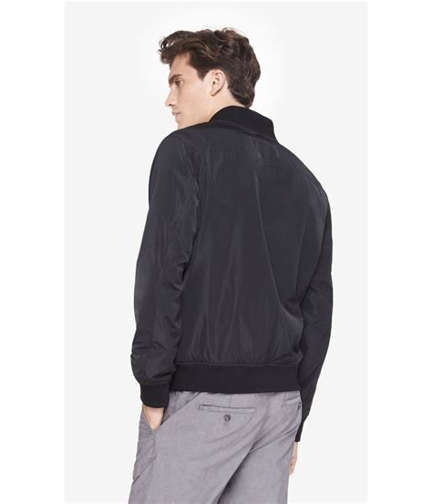 light bomber jacket mens lyst express black lightweight bomber jacket in black