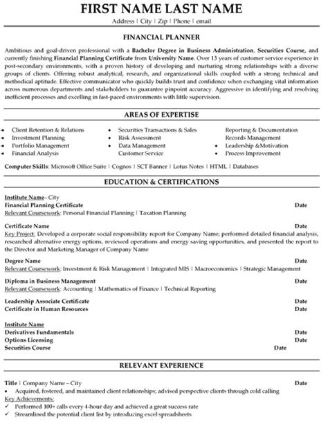 financial planner resume sle template