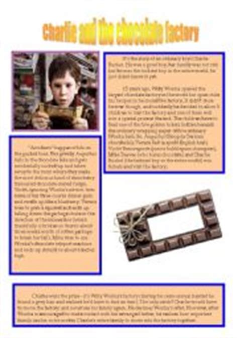 charlie   chocolate factory worksheets