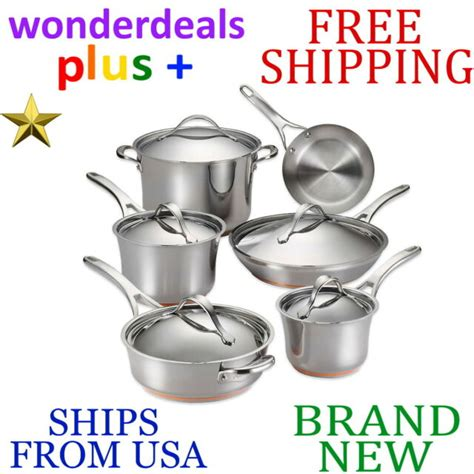 dishwasher 11pc anolon cookware nouvelle copper safe stainless steel