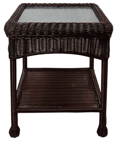 outdoor resin wicker end table resin wicker outdoor patio side table with glass top and