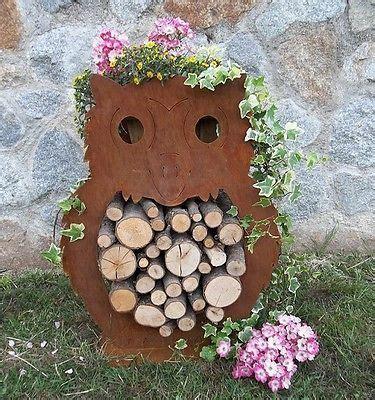 Gartendeko Blech by Eule Holz Edelrost Gartendeko Geschenkidee Rost Blech