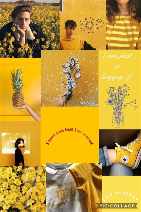 yellow aesthetic collage wallpapers