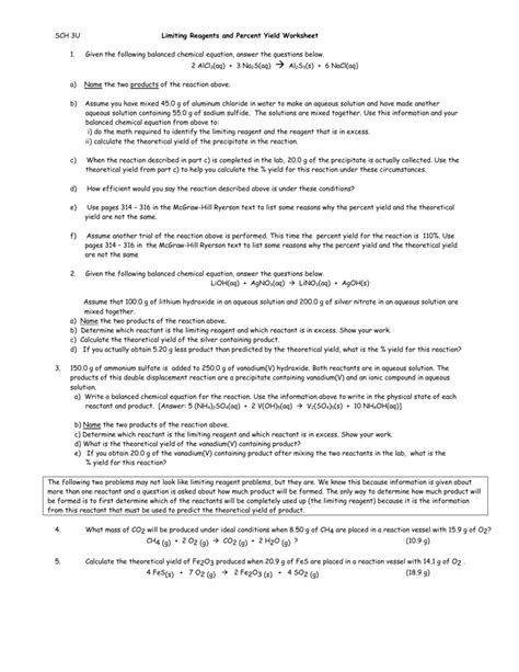 Worksheet Percent Yield Worksheet Answers Grass Fedjp Worksheet Study Site
