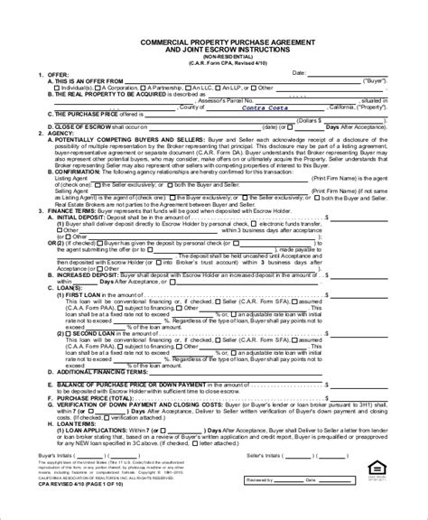 sample commercial purchase agreement templates
