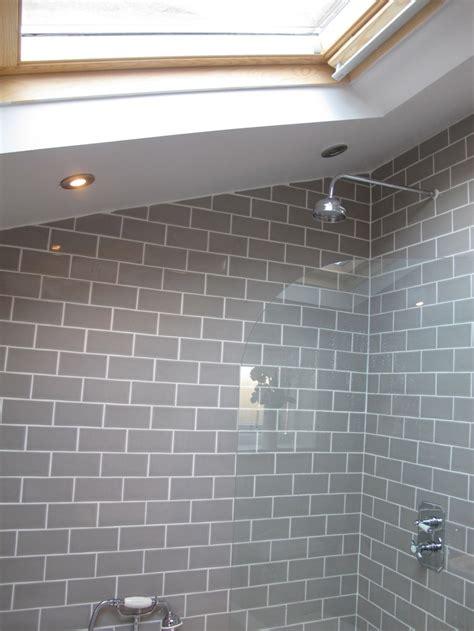 bathroom grey subway tiles bathrooms pinterest