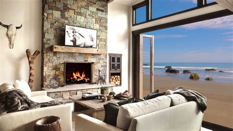 hd beach house fireplace screensaver background cosy