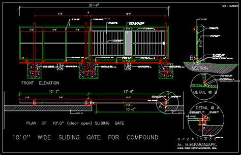 sliding gate    meters dwg detail  autocad